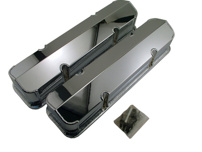 Chrome Fabricated Aluminum Valve Covers For Small Block Chevy