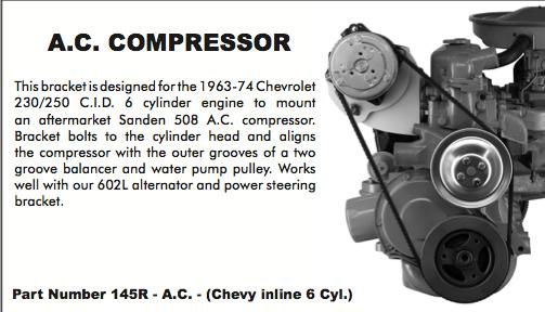 1963 74 Chevy Six Cylinder Ac Compressor Bracket