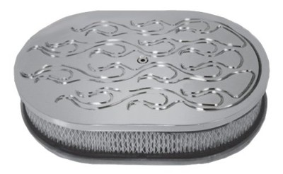 12 Inch Polished Oval Flamed Air Cleaner