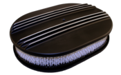 "Chevy Ford Mopar 12"" Oval Partial Finned Black Air Cleaner"