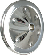 "Power Steering Pump Pulley, 5-3/4"" Diameter, Polished, 1-Row, Keyway"